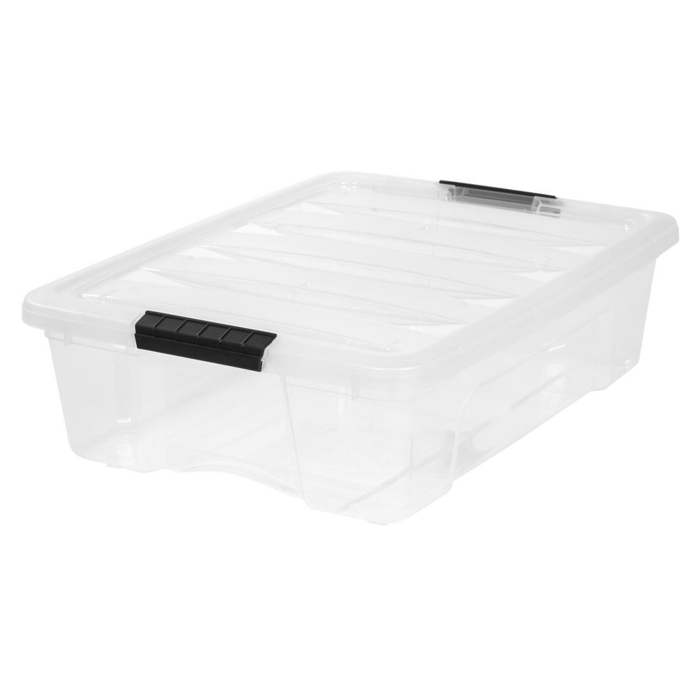 Iris 26 Qt Stack And Pull Storage Box In Clear 6 Pack Plastic Box Storage Plastic Storage Storage Bins
