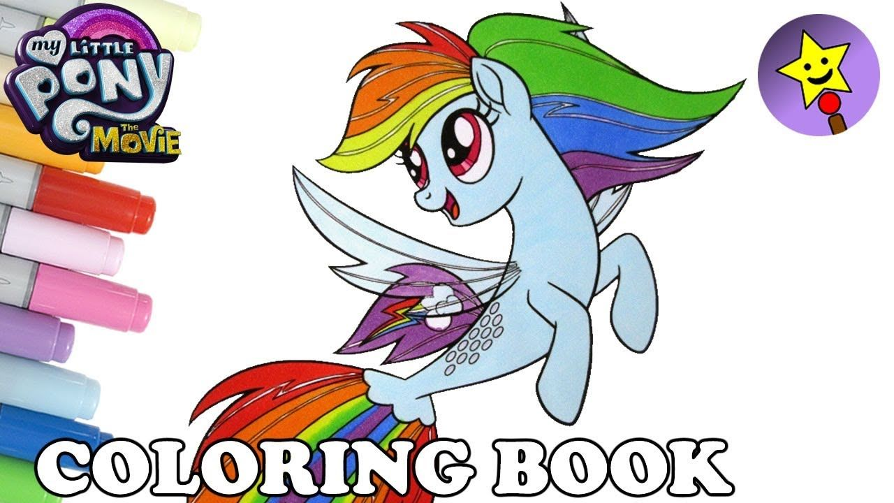 My Little Pony The Movie Rainbow Dash as a Seapony coloring book ...