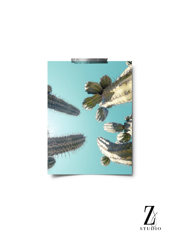 Cactus print aqua blue wall art texas printable south western