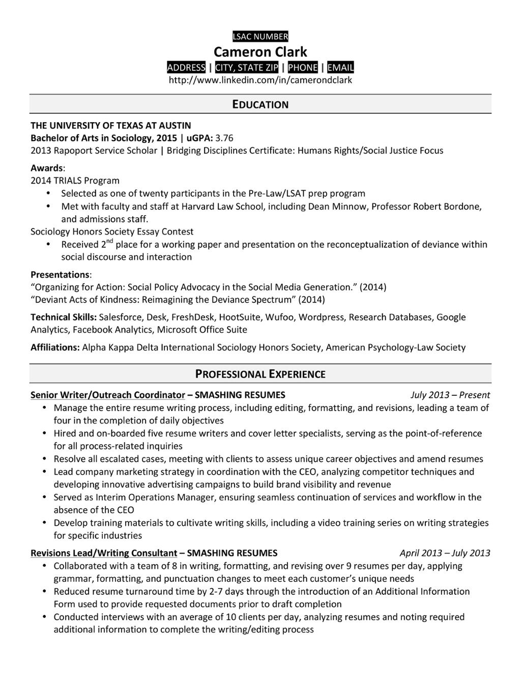 A Law School Resume That Made The Cut Law School Pinterest