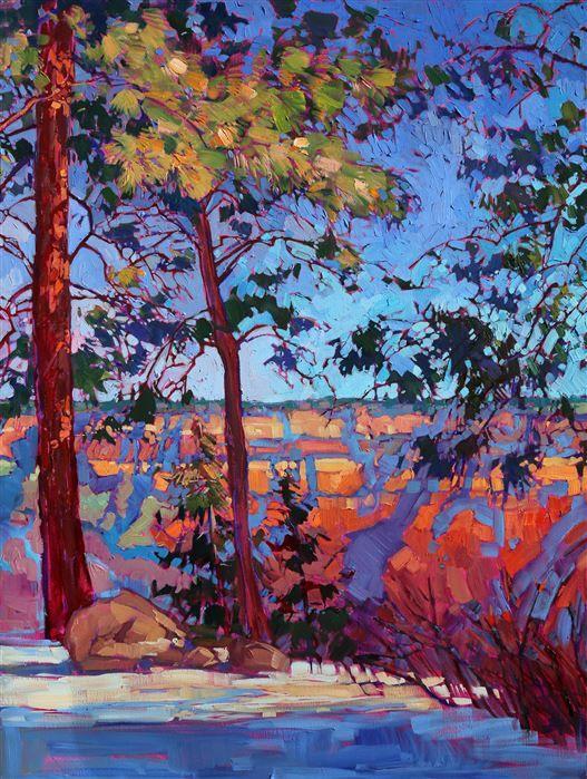 North Rim Hexaptych Modern Impressionism Landscape Paintings Modern Impressionism Landscape Illustration