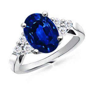 Angara Round Diamond Engagement Ring with Side Blue Sapphire Stone White Gold 7Sxf053vdo