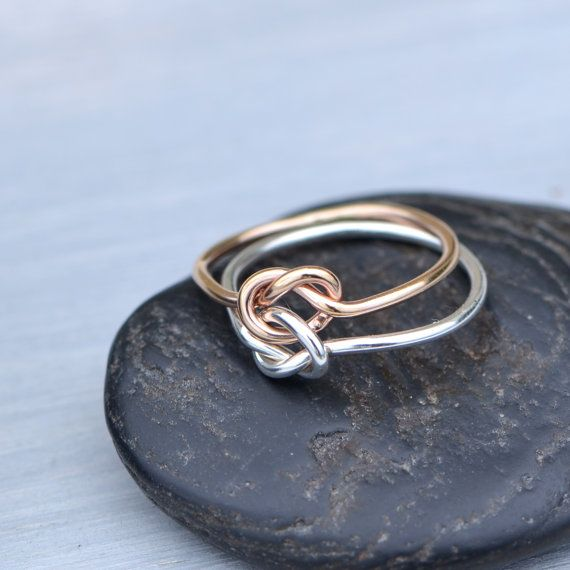 Double Knot Ring Rose Gold Filled Ring Two Toned Ring Two Etsy Gold Knot Ring Knot Ring Promise Love Knot Ring