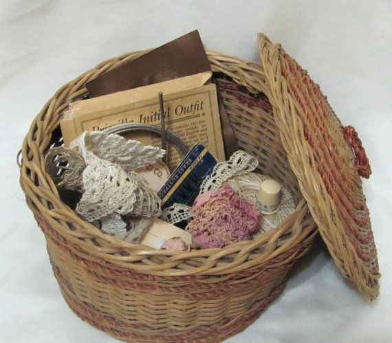 Vintage Wicker Basket Sewing Notions Treasury by ThisOrThatVintage
