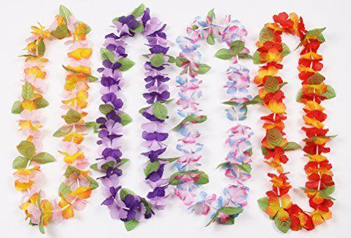 Oojami 12 Hawaiian Ruffled Simulated Silk Flower Leis Novelty 1