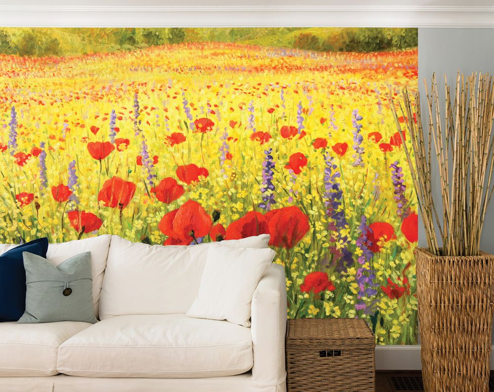 Field Of Red Poppies And Yellow Rapeseed Oil Painting Wall Mural ...
