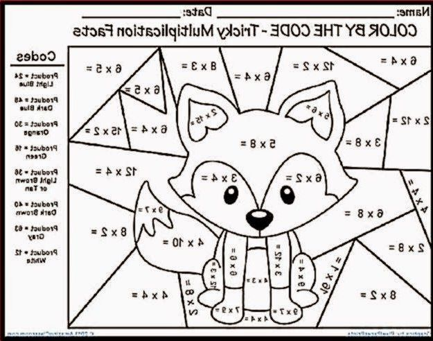 Multiplication Coloring Pages 3JLP Multiplication Color