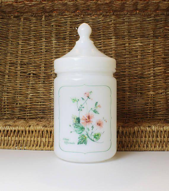 France Milk Glass Bathroom Canister Floral