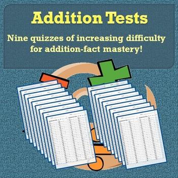 Addition Tests 0-10: Addition-Facts Quizzes Bundle   Quizzes ...