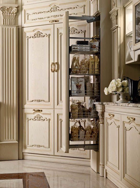 Colonna estraibile cucina bianca di lusso in rovere   Design ...