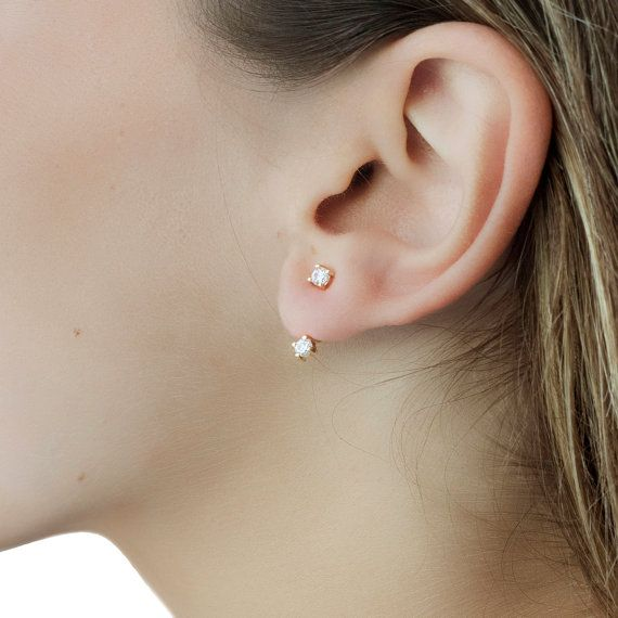 Geometric Front Back Round Bead Ear Jacket Stud Ball Earrings Sterling Silver