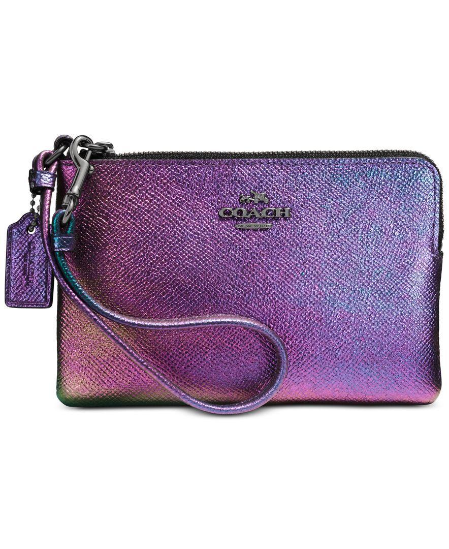 COACH Boxed Hologram Corner Zip Wristlet - Handbags & Accessories - Macy's