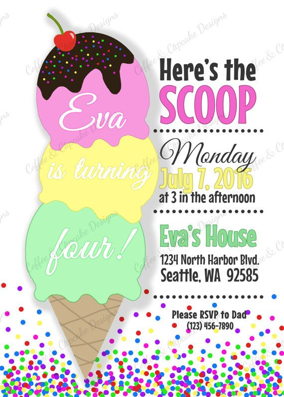 Ice Cream Birthday Invitation Free Thank You Card Colorful