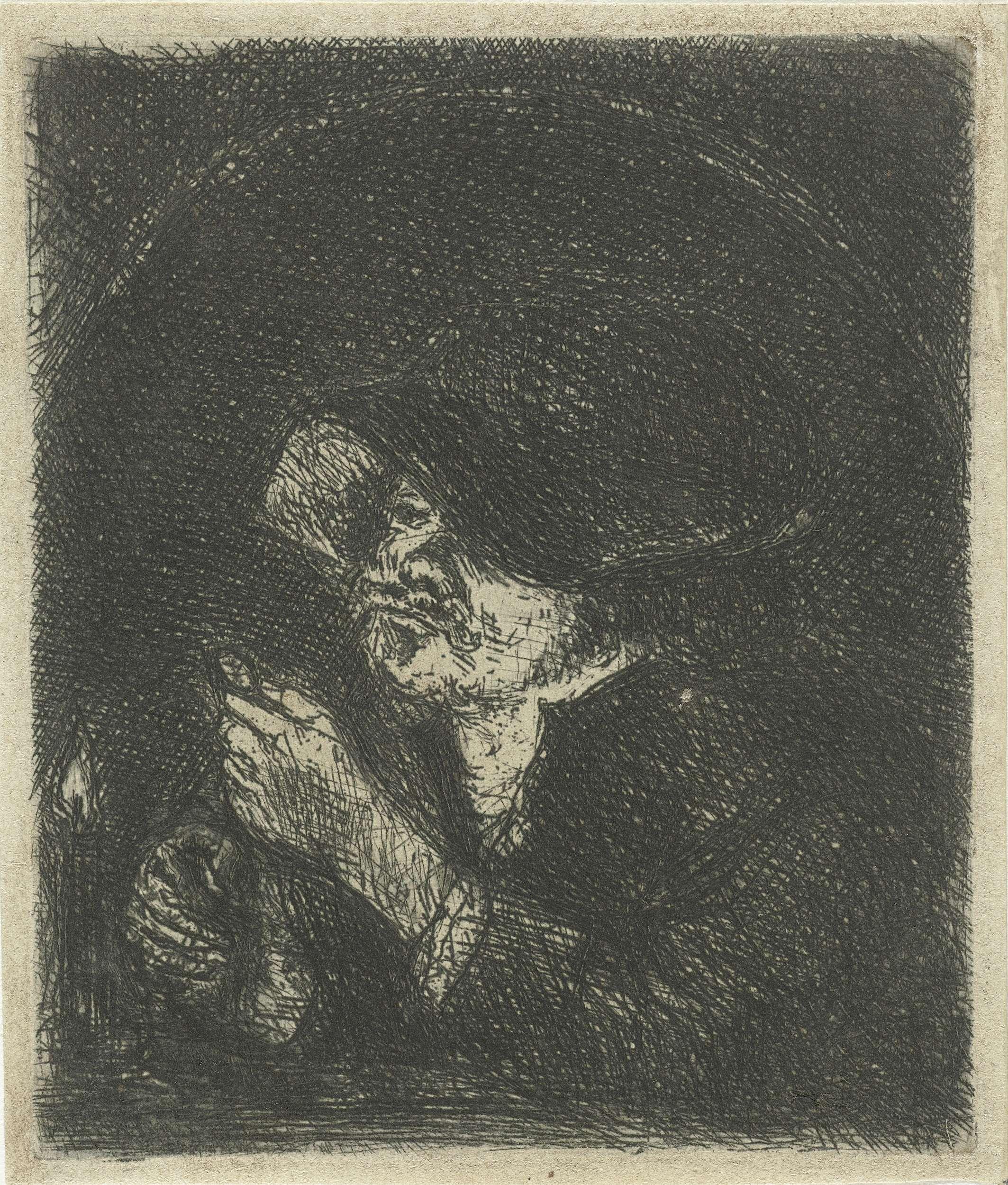 Jan Chalon | Man bij kaarslicht, Jan Chalon, 1748 - 1795 | Man steekt in een donkere ruimte een kaars aan.