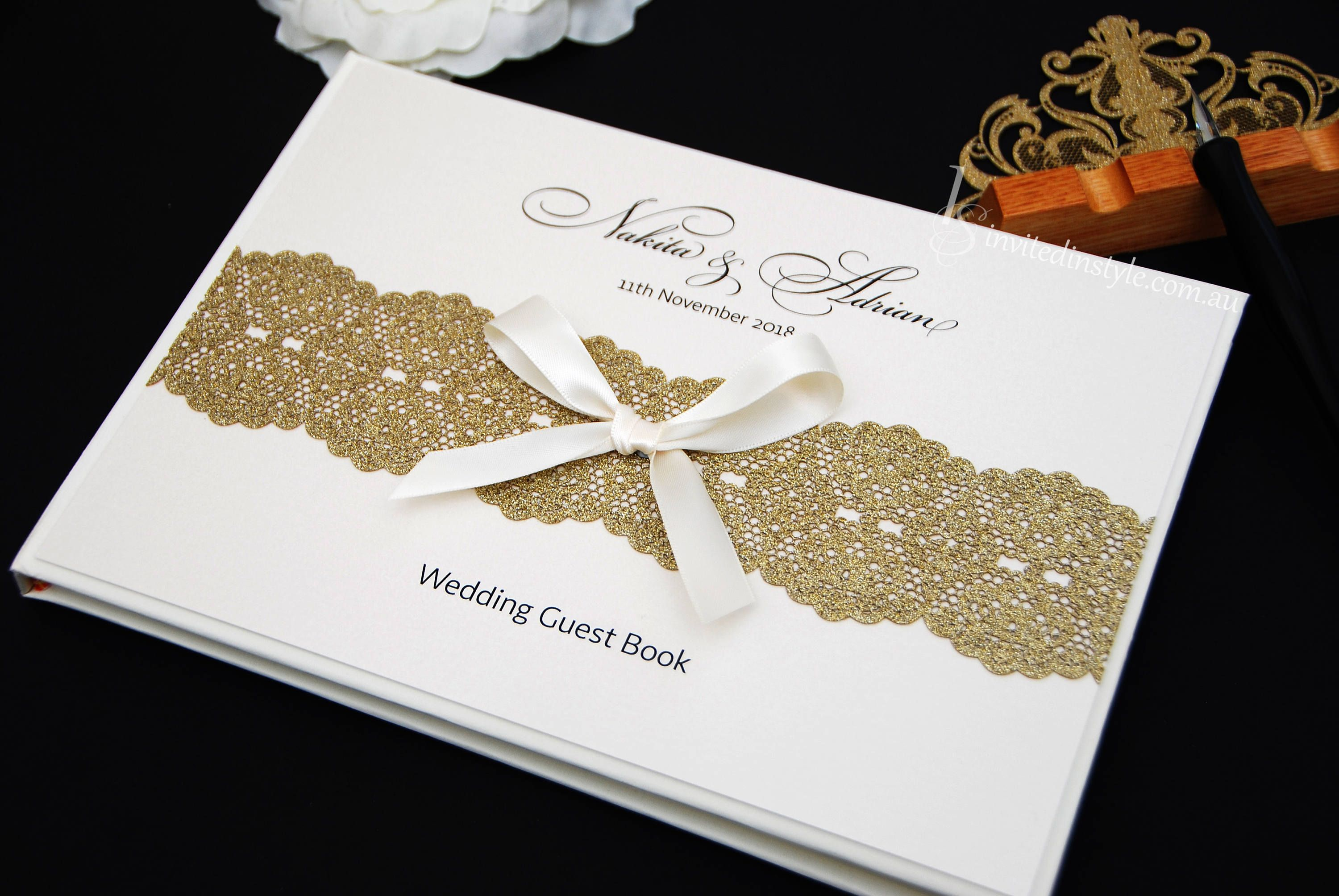 Wedding Guest Book - Personalised, hardcover with laser cut