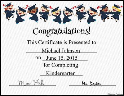 graduation certificate from johnson creations on teachersnotebook