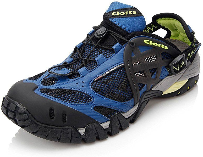 3be28f61e54c Amazon.com  Clorts Men s Water Shoe Closed Toe Quick Drying Hiking Sandal  Blue WT-05G US8  Sports   Outdoors