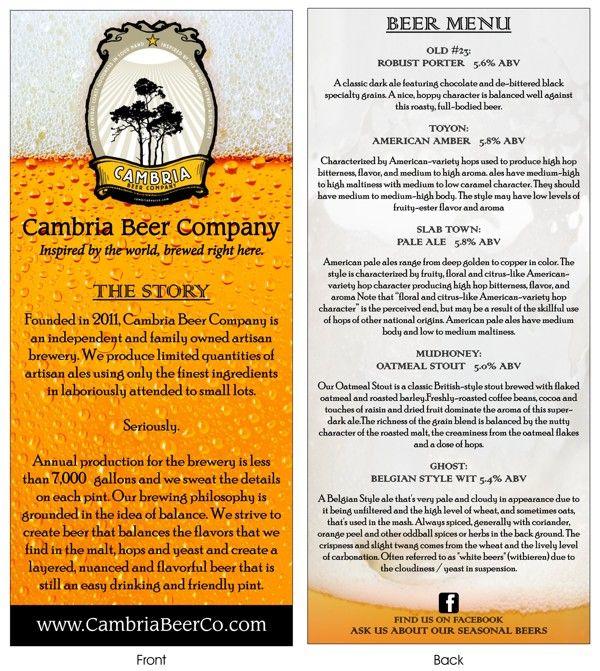 Cambria Beer Co rack card Typography y Design Pinterest Beer