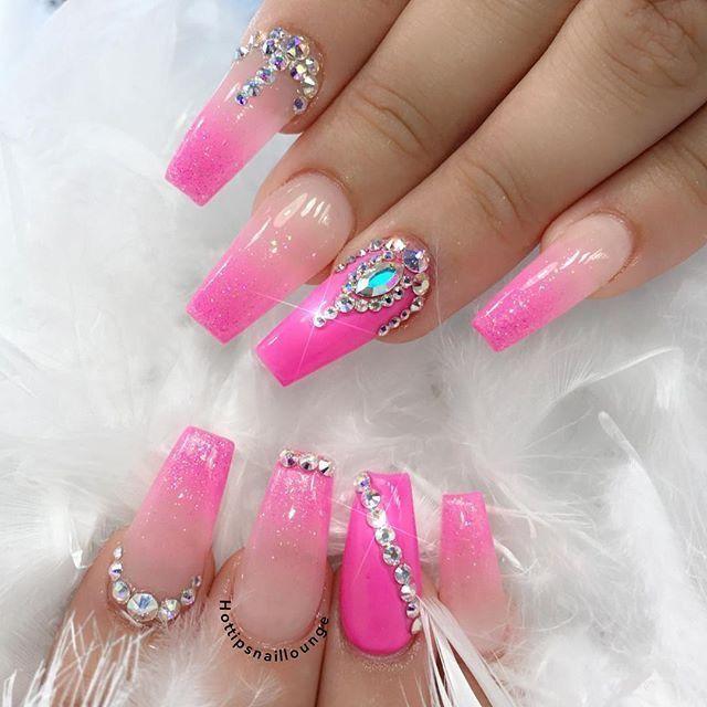 Pinterest Cosmic Chels Nails Design With Rhinestones Pink Nails Rhinestone Nails