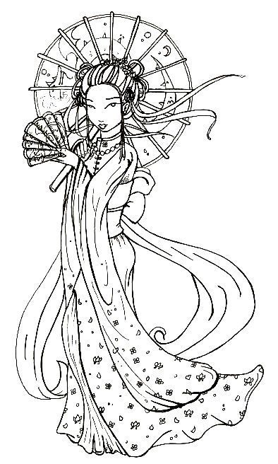 Chinoise A L Ombrelle Coloriage Dessin Coloriage Coloriage Chinois