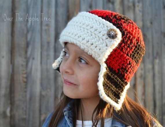 Plaid Earflap Hat Trapper Hat Etsy Crochet Hats Yarn Hats Crochet Apple