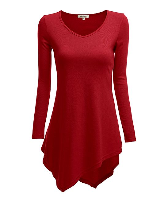 be22169c160 Red V-Neck Handkerchief Tunic - Plus Too Long Tunic Tops