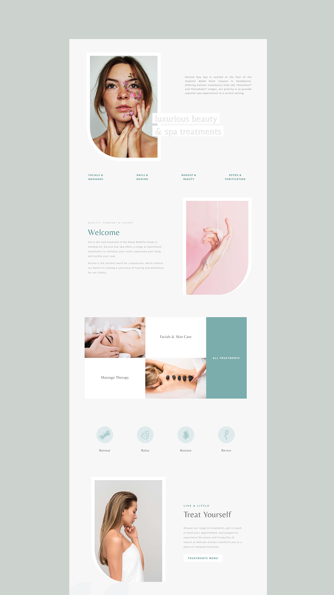 Karuna Day Spa Custom Website Design Clean Web Design Minimal Web Design Web Layout Design