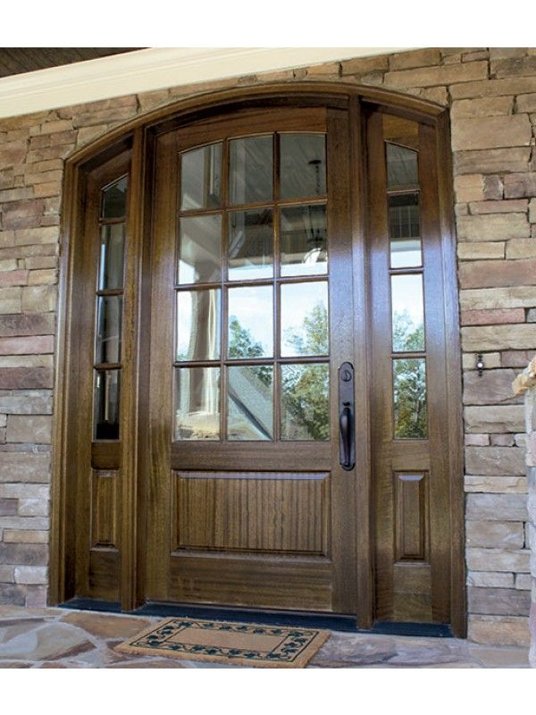 Mahogany Trinity Tdl 12 Lite Single Door 2sidelite Arch Top 2 1 4 Thick Modern Front Door Arched Exterior Doors Wood Front Entry Doors