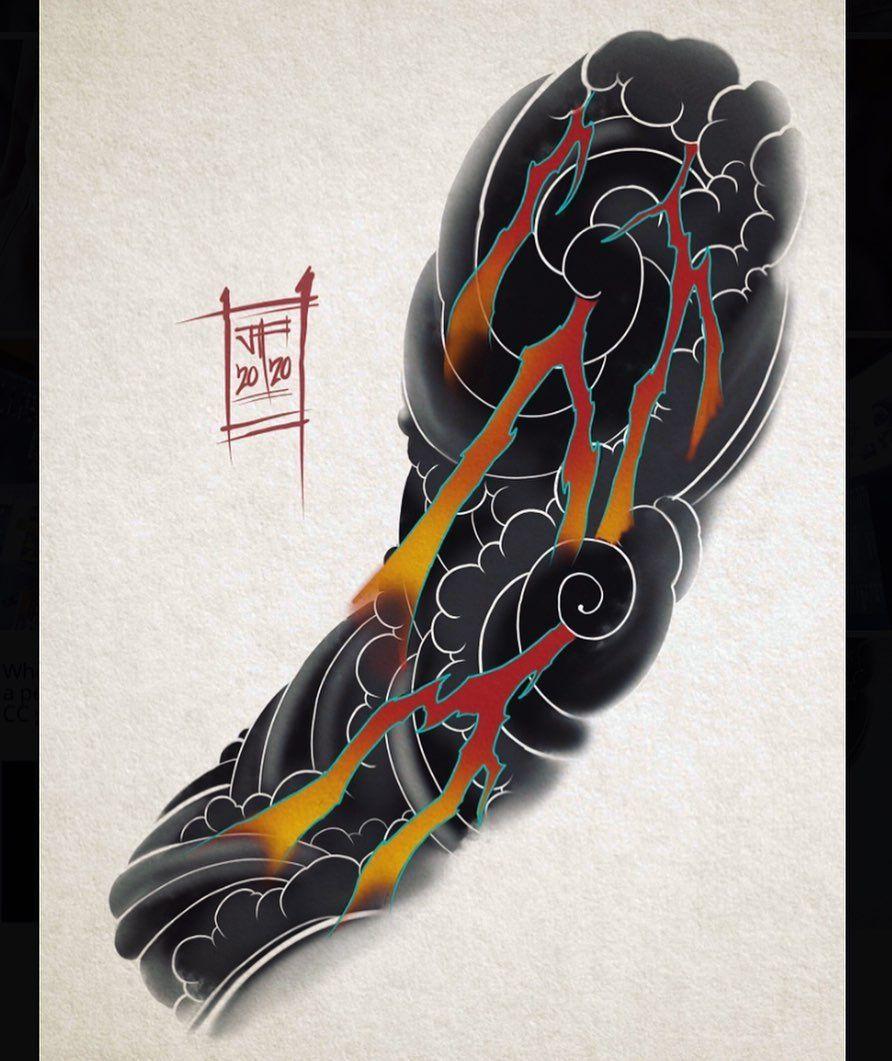 "Josh Fullalove on Instagram: ""Clouds & Lightning ⚡️ #art #artist #tattoo #tattoos #tattoosleeve #tattooideas #japanesetattoo #japanesetattooart #irezumi…"""