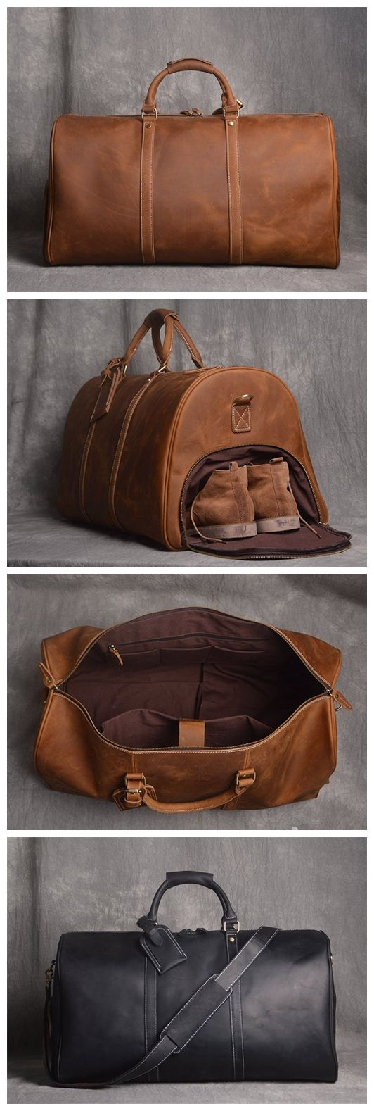 Photo of Full Grain Leather Duffle Bag with shoe Compartment,Personalized Leather Travel Weekend Bag,Wedding Gift for Groomsman QT002 – Brown / L
