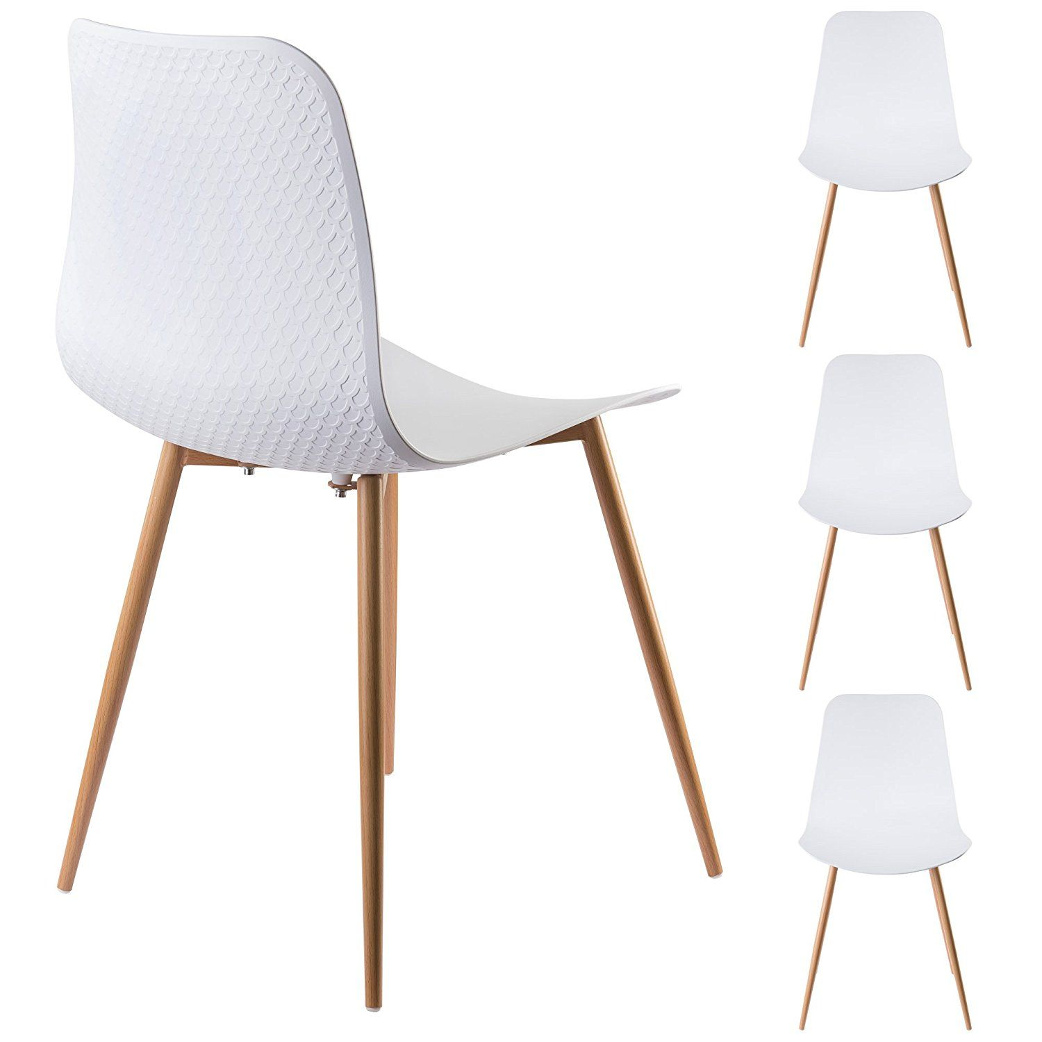 Excellent Viola Set Of 4 White Dining Chairs Mid Century Modern Creativecarmelina Interior Chair Design Creativecarmelinacom