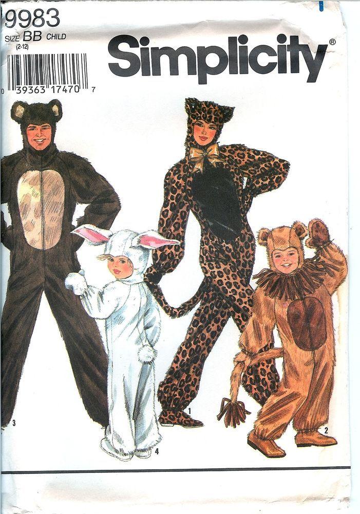 Simplicity 9983 Leopard Lion Bear Rabbit Bunny Furries Costume ...
