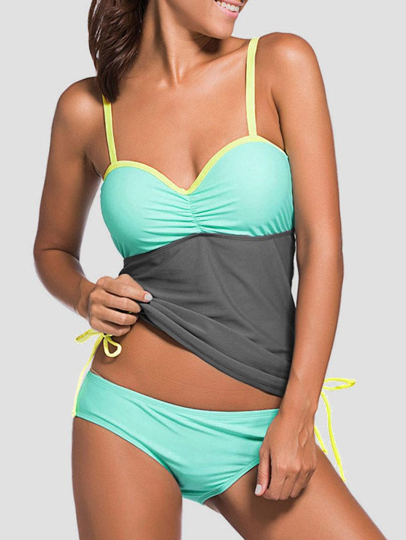 e77f7bff32232 Bandeau Color Block Underwire Tankini Set | Tankini | Swimsuits ...