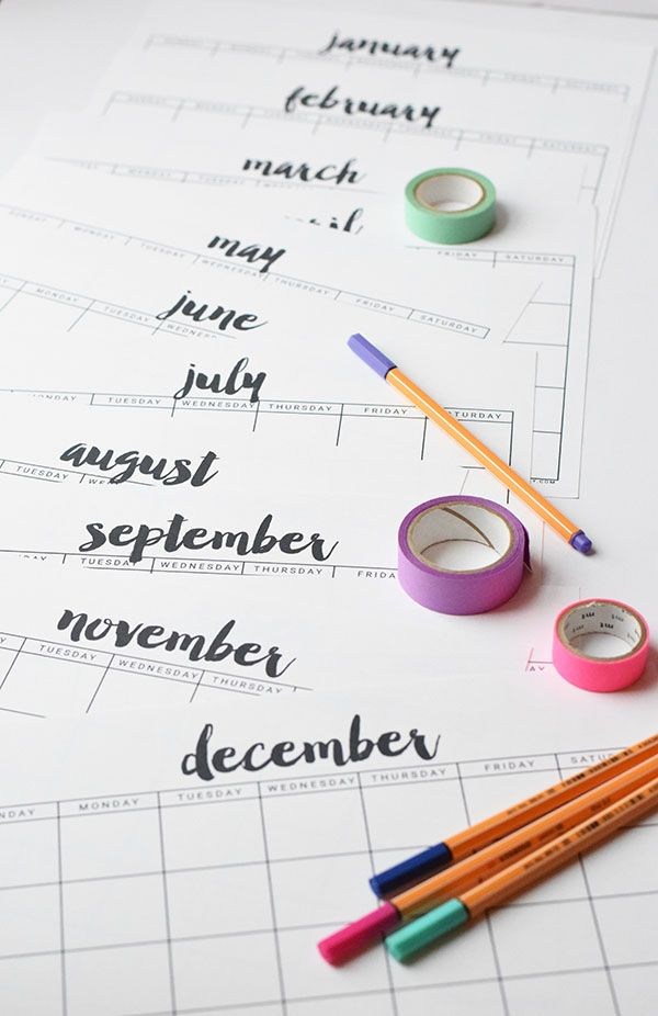 free printable calendar from thyme is honey clean simple design