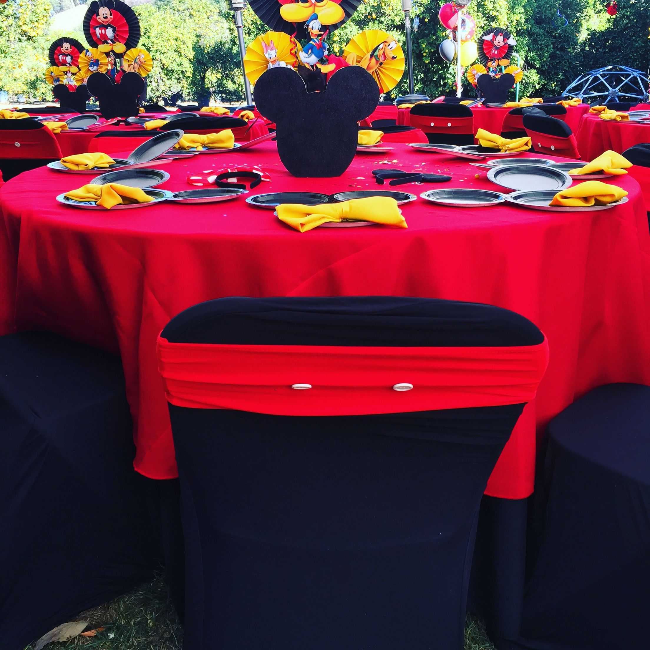 Chair ties and chair covers Mickey Mouse theme party