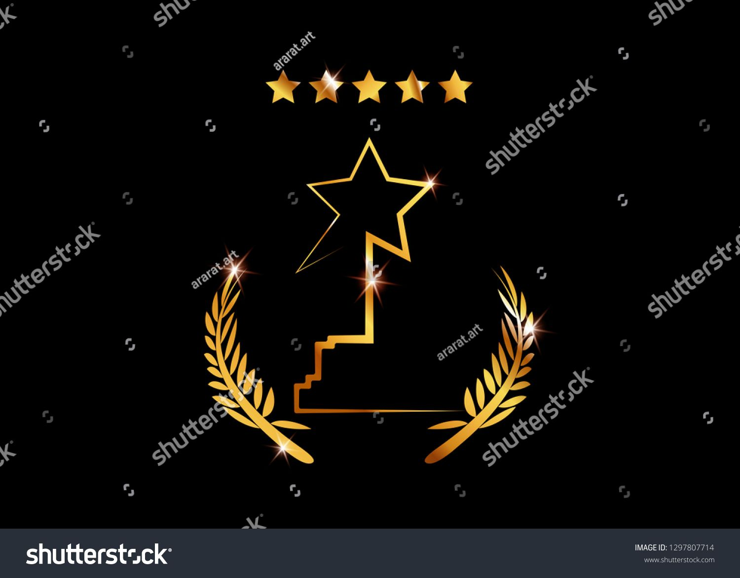 Film Award For The Best Film Movie Party Gold Star Award Statue Prize Giving Ceremony Golden Stars Prize Concept Silhoue Film Awards Movie Party Star Awards