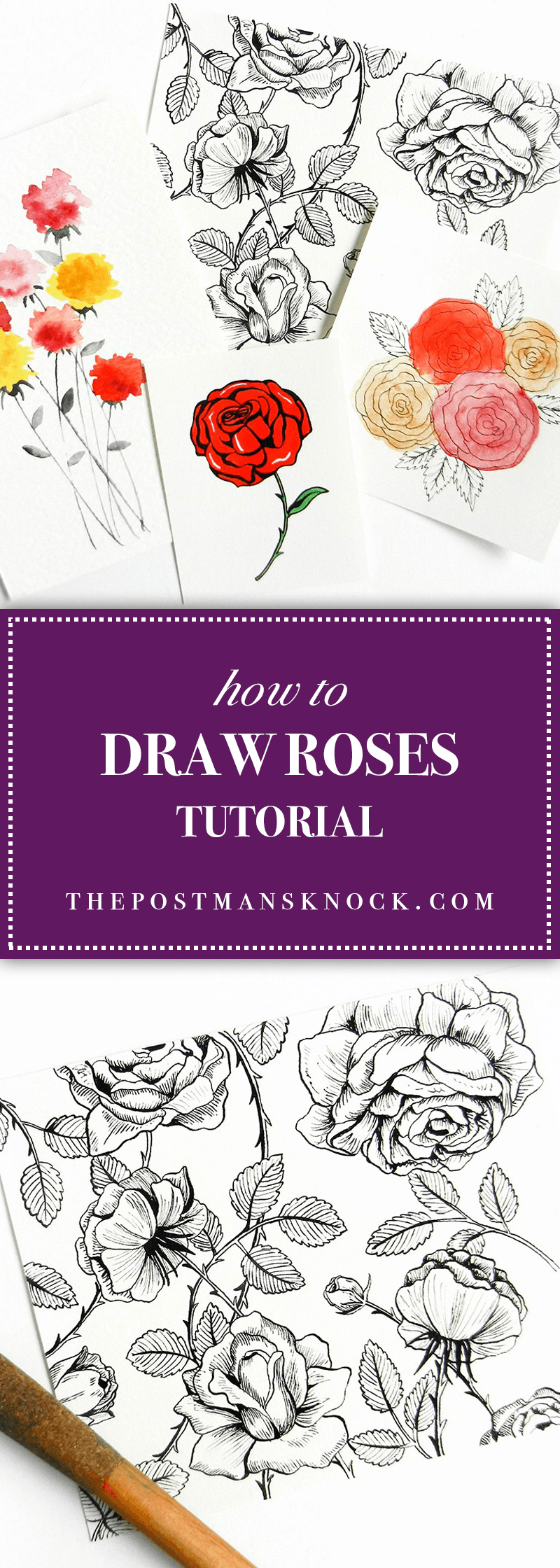 How to Draw Roses Watercolor flowers tutorial, Flower