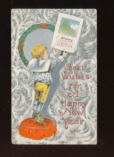 Child with 1909 Calendar Vintage Antique New Year Postcard-ddd776