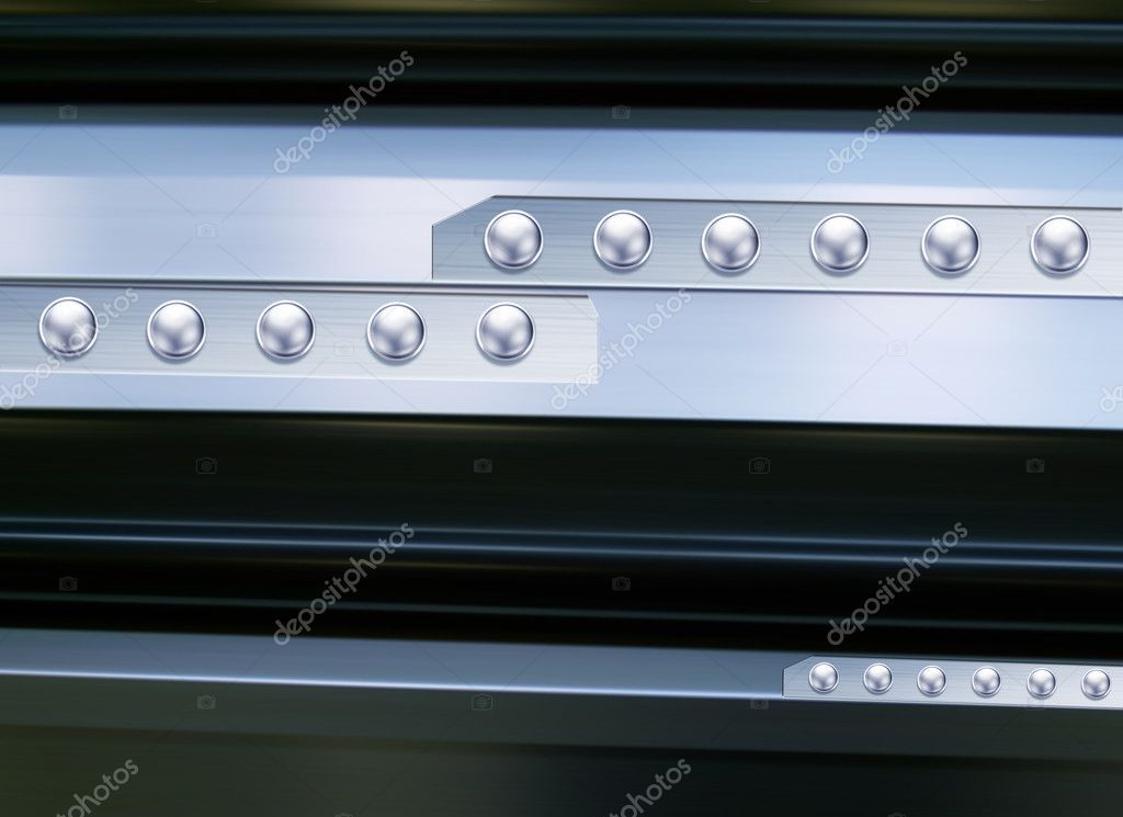 Metal texture with silver rivets Stock Image ,