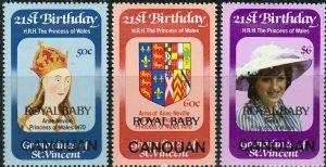 Stamps 1982 St Vincent Union Island Diana 21st Birthday ROYAL BABY Overprint Set Fine Mint