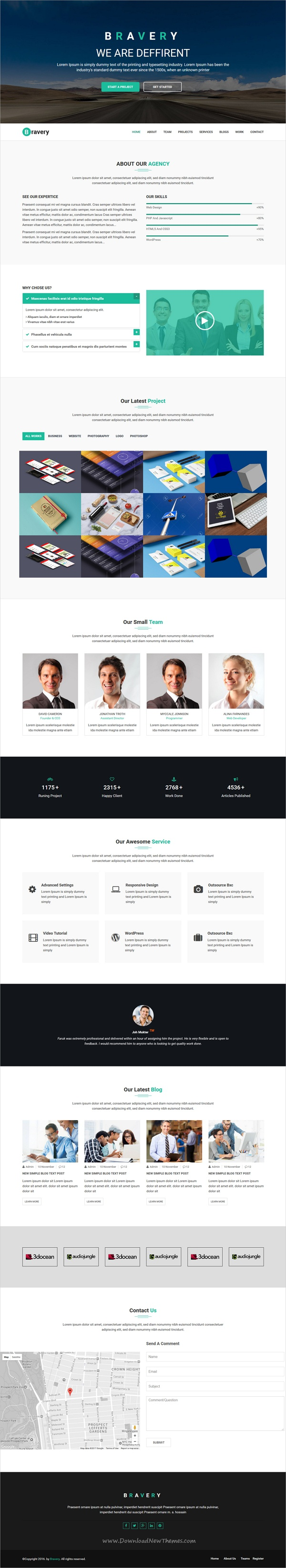 Bravery Creative One Page Responsive Html5 Template Template And