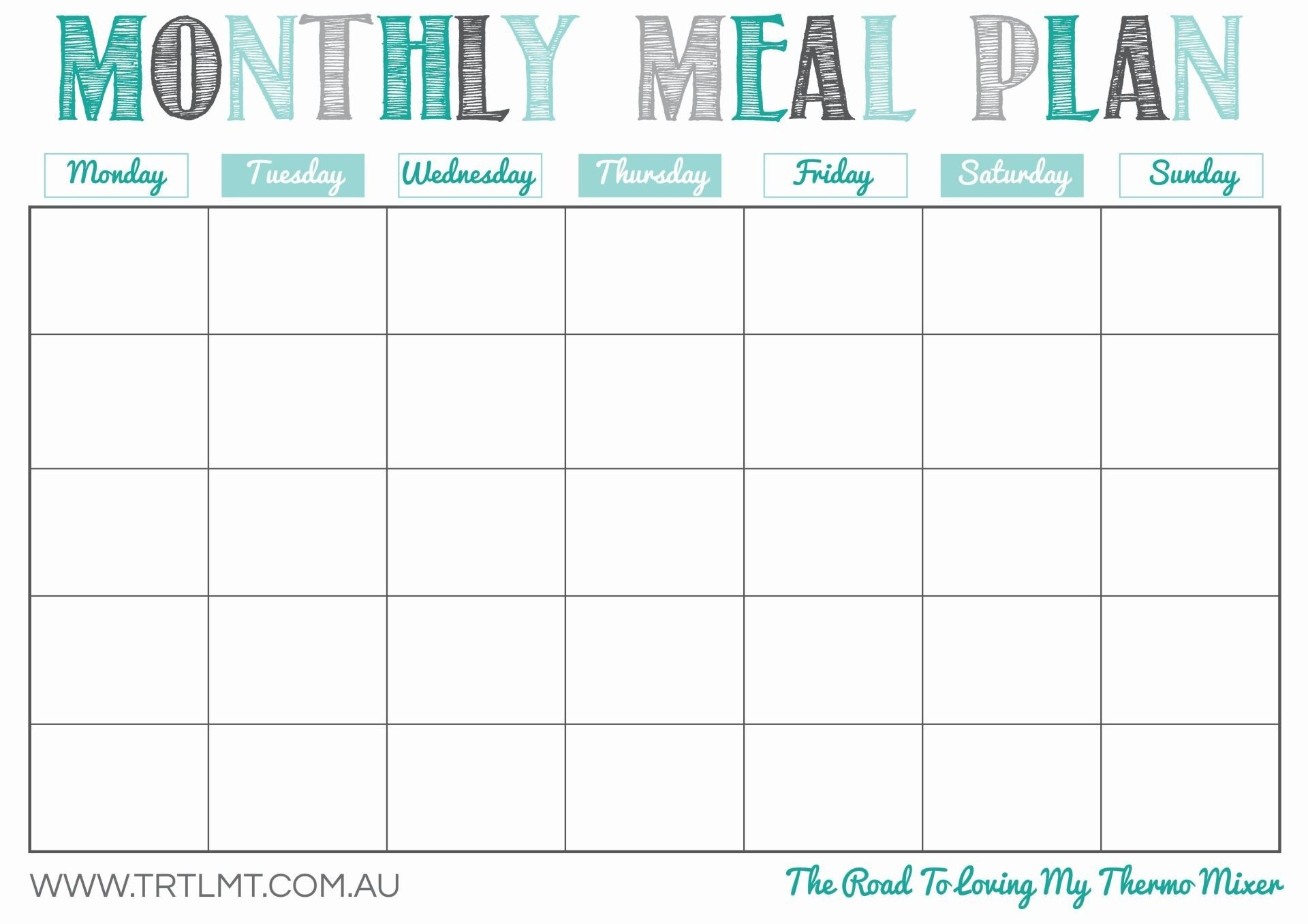 Monthly Meal Plan Template Printable Undated So You Can