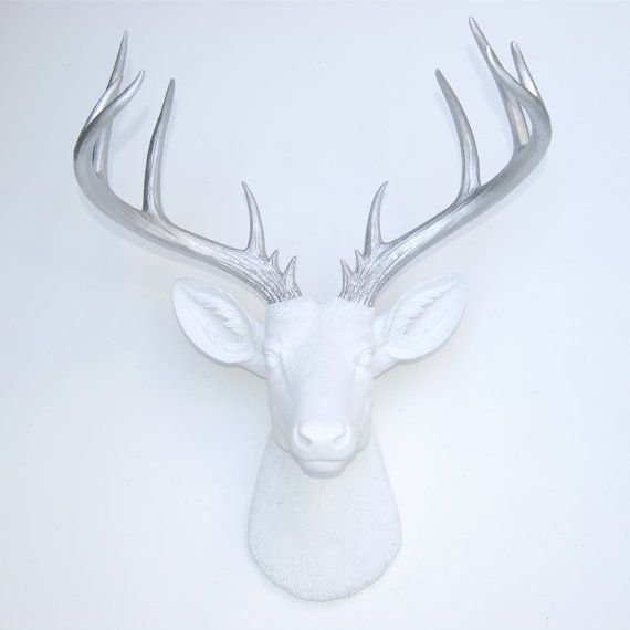 large faux taxidermy white deer head with silver antlers white and silver resin stag faux