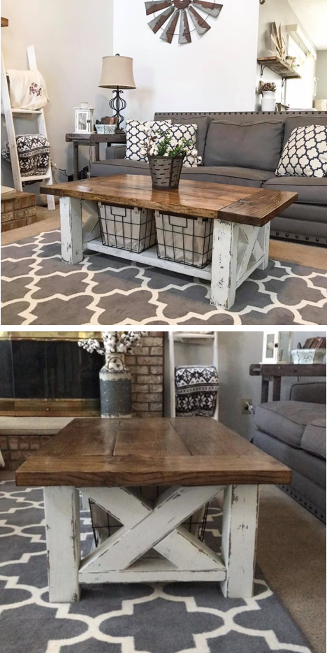 Diy Farmhouse Coffee Table For The Home Living Room Two Tone