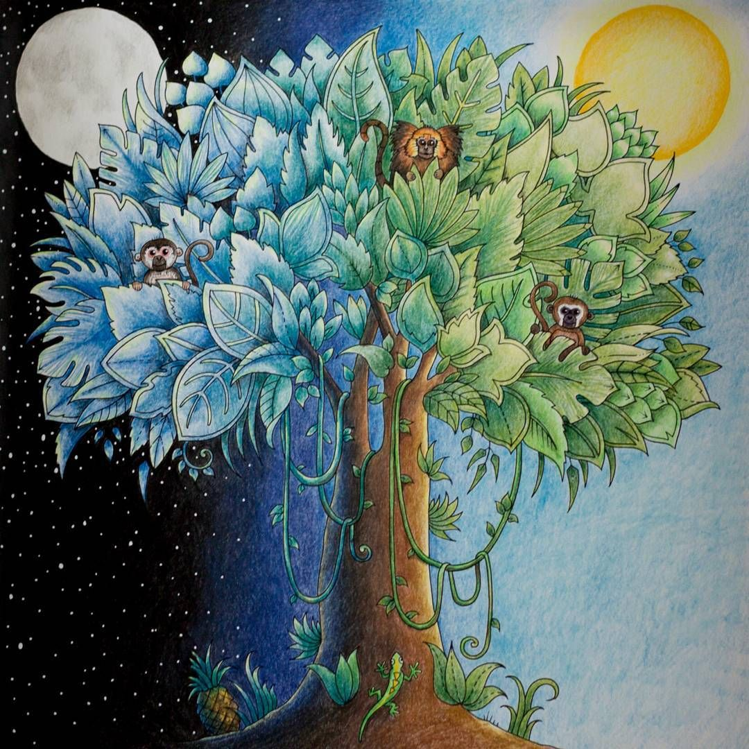 After a long time finally done! My night and day tree #magicaljungle ...