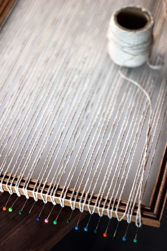 DIY Weaving Loom from Picture Frame   Weaving looms, Hydrangea and Craft