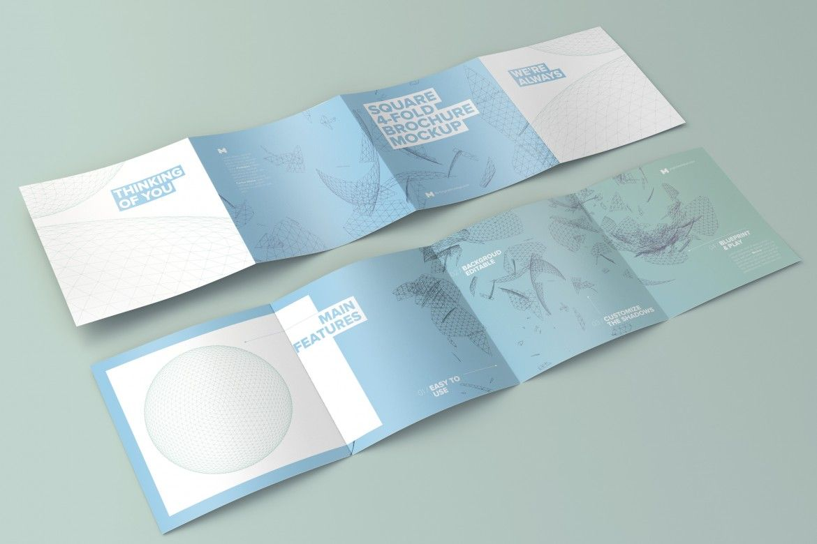 spread square 4 fold brochure outside and inside mockup 01
