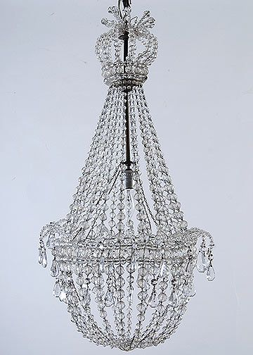French antique crystal beaded empire style chandelier vintage french antique crystal beaded empire style chandelier aloadofball Image collections