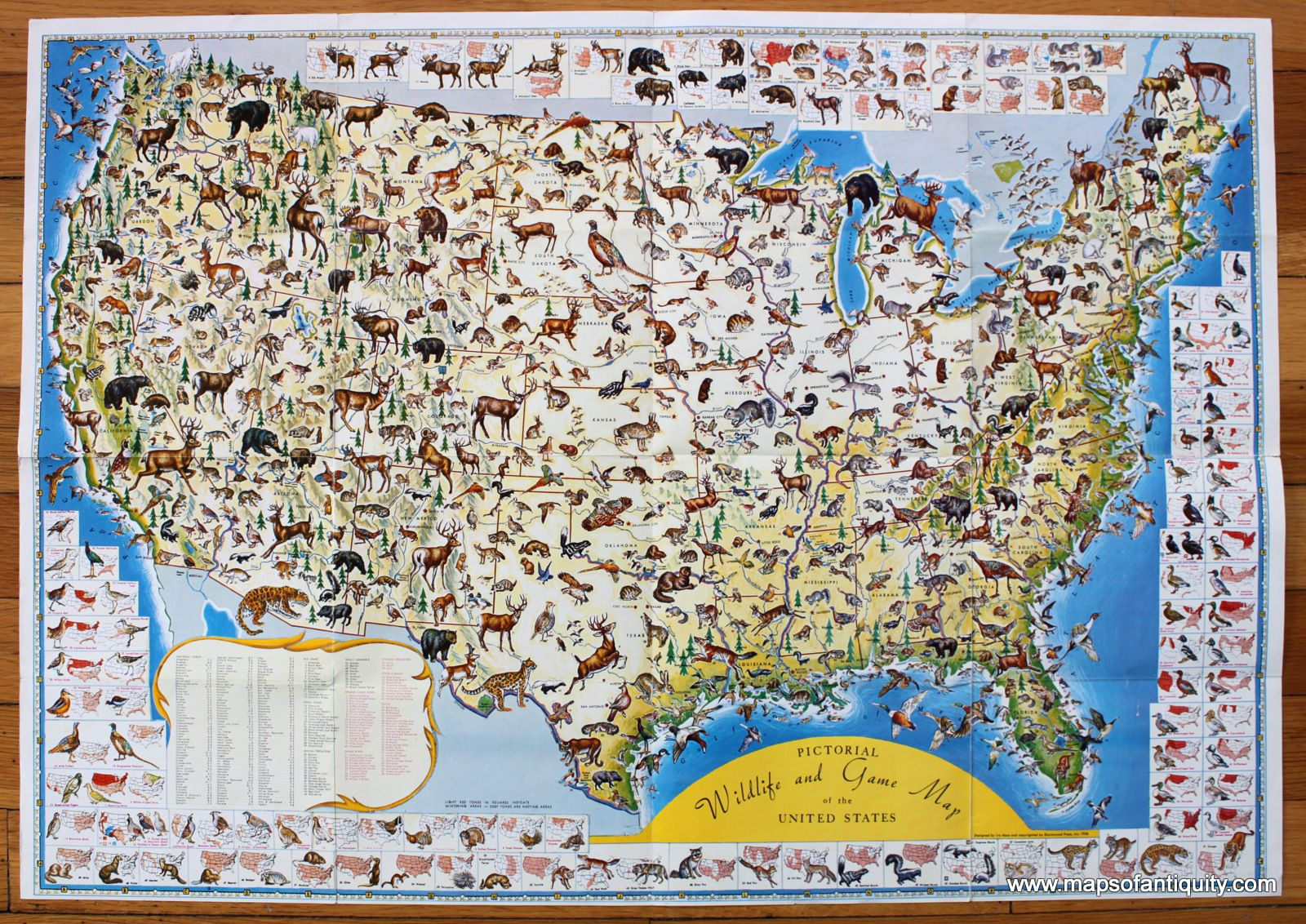 Antique 1956 Pictorial Map of the Wildlife and Game of the United