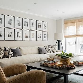 Long Cream Sofa With Chaise Lounge Under Black And White Photo Wall Cream Sofa Living Room Cream Couch Living Room Cream Sofa Design
